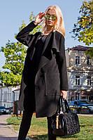 Женское легкое кашемировое пальто-кардиган черное