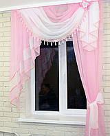 Ламбрекен №27ла на карниз 1.3м. с шторкой-2м. Цвет розовый с белым. У