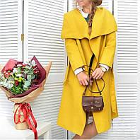 Женское кашемировое пальто на запах цвет горчица. Хит сезона!