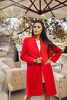 Женское кашемировое пальто-кардиган на запах красное. Хит сезона!