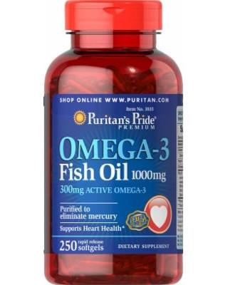 Puritans Pride Omega-3 Fish Oil 1000 mg, 250softgels