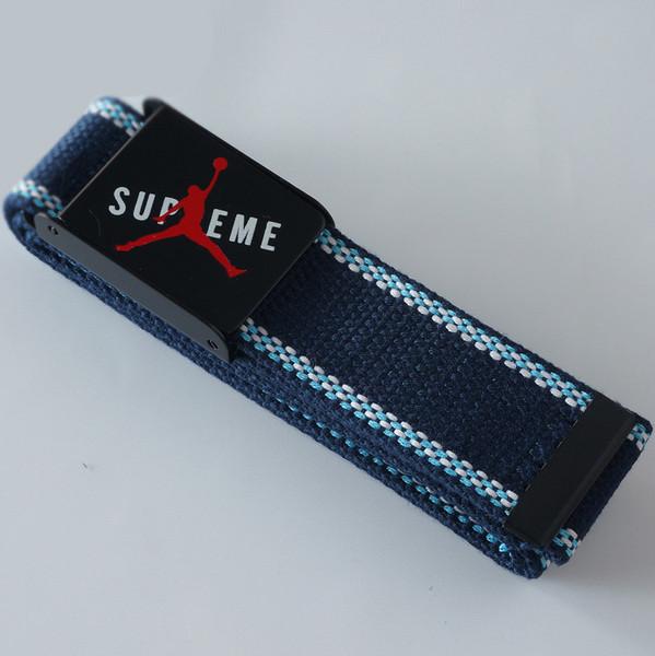 Тканевый ремень синий Supreme с изображением баскетболиста (реплика)