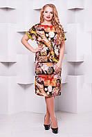 Женское Летнее платье большие размеры Дэниз оливка (52-58)