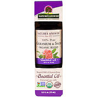 Nature's Answer, 100% чистая, органическая смесь из эфирных масел, герань и шалфей, 0,5 жид.унции (15 мл)