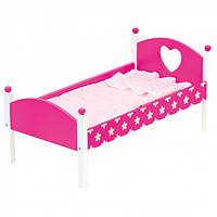 Кроватка для кукол Bino Кроватка с одеялом Розовая 83700