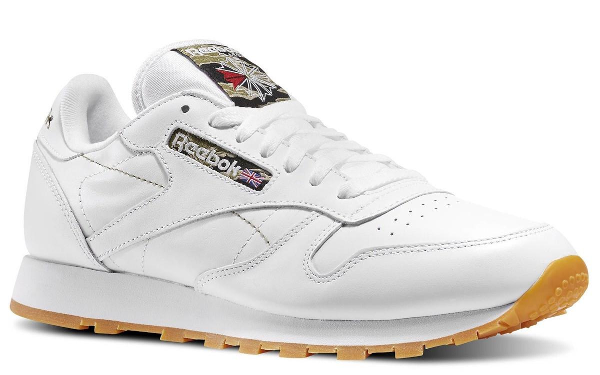 """Кросівки Reebok Original Classic Leather white camo/""""Tiger Camo"""" жіночі/підліткові білі"""