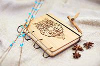 """Блокнот """"Сова"""" с обложкой из натурального дерева подарочный"""