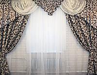 """Комплект ламбрекен  со шторами  из ткани """"Блэкаут"""" Код 064лш061"""