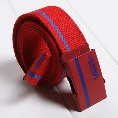 Тканевый ремень красный с синим логотипом Vans (реплика)