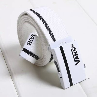 Тканевый ремень белый с черным логотипом Vans (реплика)