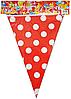 Флажки для праздника красные в горошек Happy Party