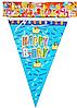 """Флажки для праздника """"Happy Birthday"""" голубые Happy Party"""