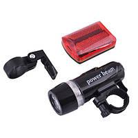 Фонарик на велосипед + задняя фара H-188, LED диоды, 2 крепления в комплекте, качественный пластик