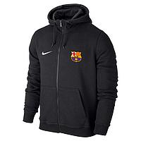 Спортивная толстовка (кофта) Барселона-Найк, Barcelona, Nike, с капюшоном, черная, ф4408