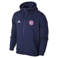 Спортивная толстовка (кофта) Бавария-Адидас, Bavaria, Adidas, с капюшоном, синяя, ф4410