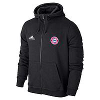 Спортивная толстовка (кофта) Бавария-Адидас, Bavaria, Adidas, с капюшоном, черная, ф4411