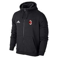 Спортивная толстовка (кофта) Милан-Адидас, Milan, Adidas, с капюшоном, черная, ф4446