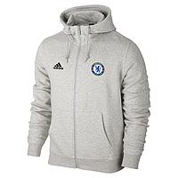 Спортивная толстовка (кофта) Челси-Адидас, Chelsea, Adidas, с капюшоном, белая, ф4468