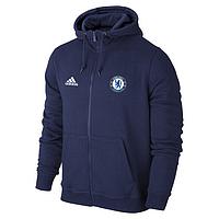 Спортивная толстовка (кофта) Челси-Адидас, Chelsea, Adidas, с капюшоном, синяя, ф4469
