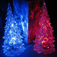 Мини светильник хамелеон Елочка Кристалл, минисветильник светящаяся елка UFT