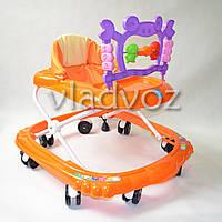 Детские ходунки музыкальная панель тормоз оранжевые Bamby крабик с музыкой