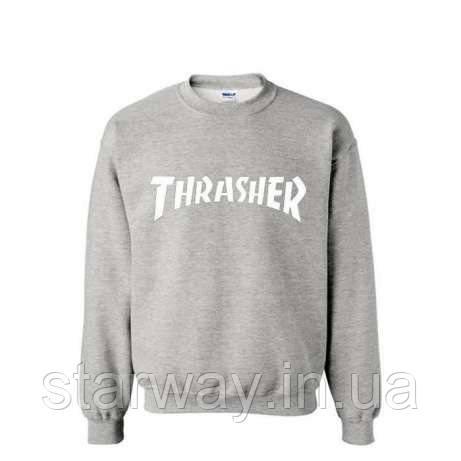Свитшот серый | TRASHER белое лого | Кофта