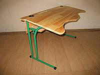 Двухместный, антисколиозный стол для учеников из натурального дерева и  полкой