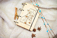 "Блокнот ""Во все тяжкие"" из натурального дерева на кольцах 60 листов."