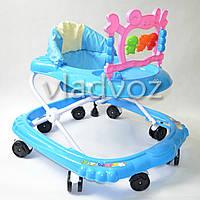 Детские ходунки музыкальная панель тормоз синие Bamby крабик с музыкой