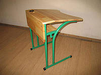 Одноместный стол с натурального дерева для ученика, с полкой, антисколиозный