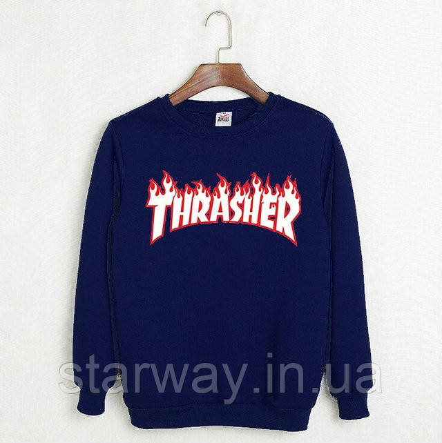 "Свитшот синий | принт ""Thrasher Magazine"" | Кофта"