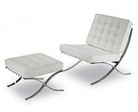 Дизайнерское кресло Барселона белая дизайн Mes van der Rohe