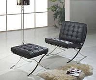 Дизайнерское кресло Барселона черное, дизайн Mes van der Rohe, 78х78х80см