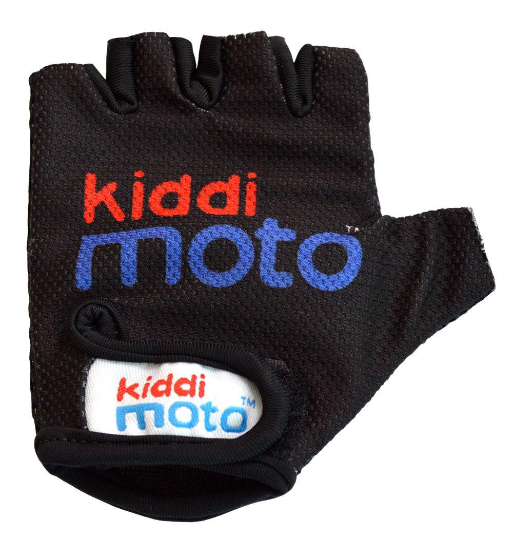Велоперчатки детские Kiddimoto чёрные с логотипом (BB)