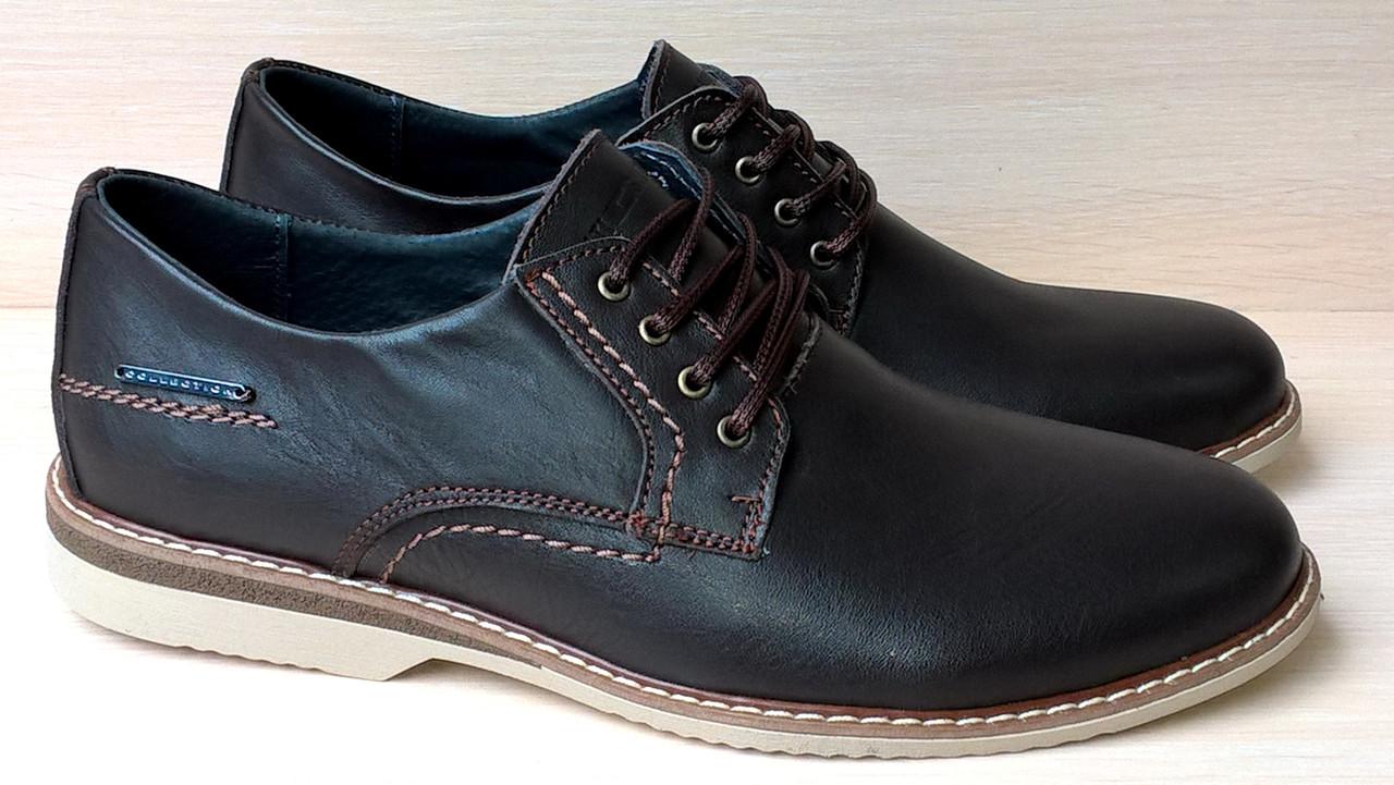 Мужские полуклассические туфли коричневого цвета, лёгкая подошва, кожа,  р-р  40 7064c3ebe9f