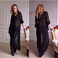 Роскошная женская шифоновая блуза удлиненная сзади