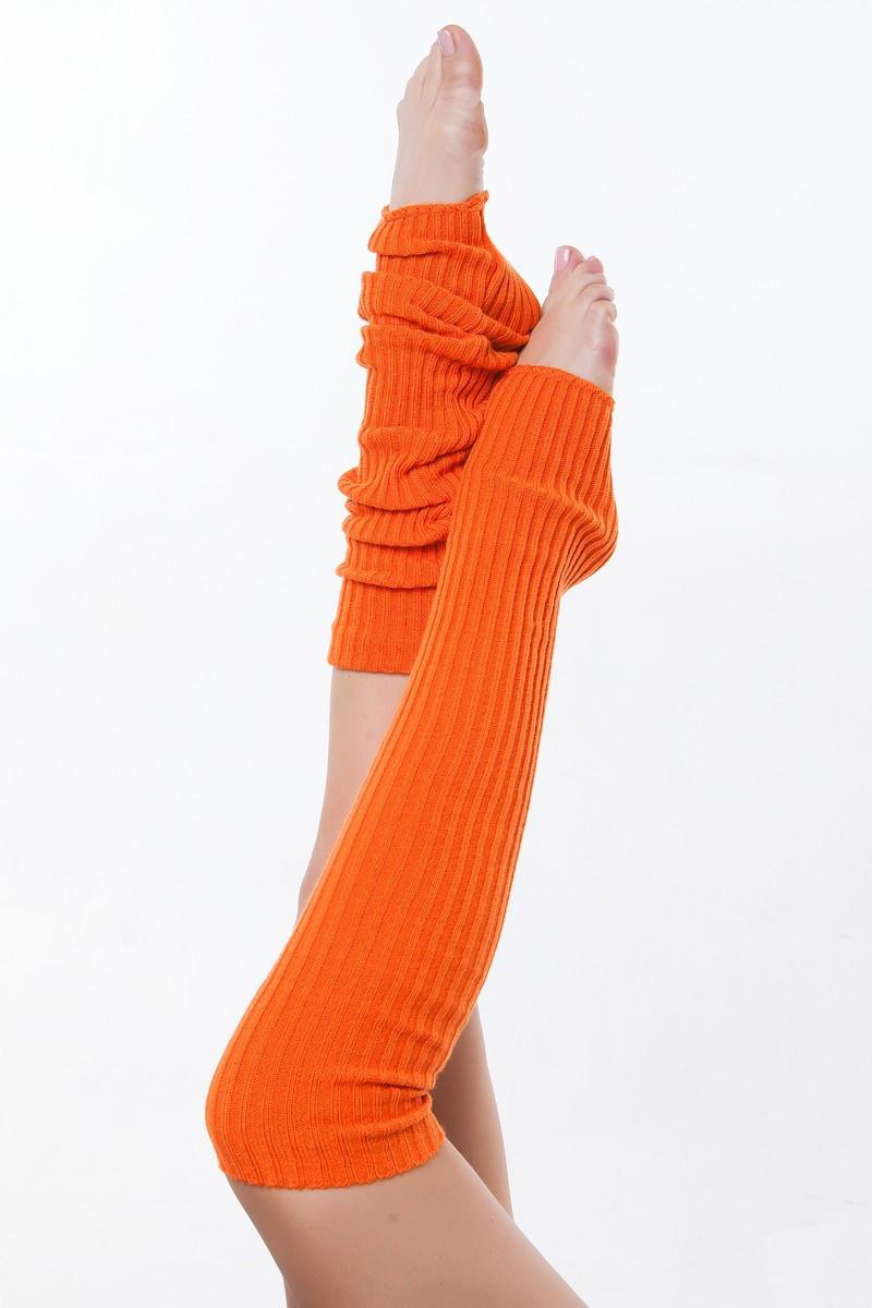 Вязаные детские гетры для танцев и гимнастики Оранжевый