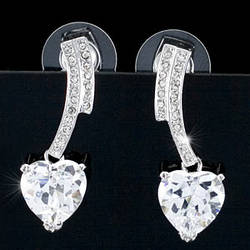 Серьги 4 Carat Dangle Heart Cubic Zirconia CZ Earrings SE260