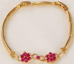 Браслет позолота рубиновый цветок (GF315)