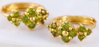 Серьги позолота с оливковыми цирконами (GF414
