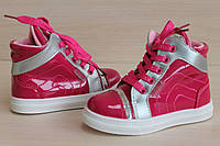 Ботинки лаковые  цвета фуксия шнурки и молния тм J&G р.22,24