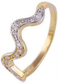 Кольцо Волна позолота Gold Filled с цирконами (GF454) Размер 17