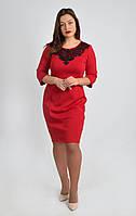 Красное платье с черной ажурной вставкой