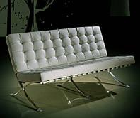 Дизайнерский диван Барселона белый двухместный дизайн Mes van der Rohe