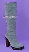 Сапоги женские демисезонные из натуральной серой замши на высоком каблуке, без фурнитуры