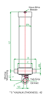 Гидроцилиндр 3-х штоковый (длина 1 штока 1385 мм)тип А