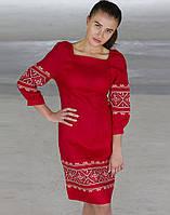 """Сукня жіноча """"Традиція"""" льон  червоний"""