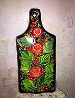 Доска разделочная декоративная,черный фон листья. маленькая ( 31х14 см)