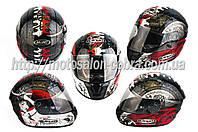 Шлем-интеграл   (mod:Fireworks) (size:XL, черно-белый +солнцезащитные очки, DICE)   CIRUS