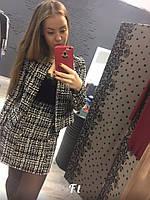 Женский костюм с пиджаком и юбкой из ткани букле